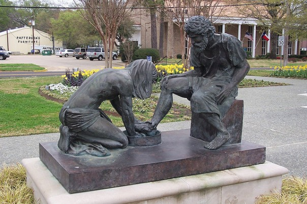 Jesus Washing Peter's Feet Sculpture beside the Prayer Tower, Pittsburg, Texas.   Inscription: Divine Servant Jesus Christ Washing Peter's Feet