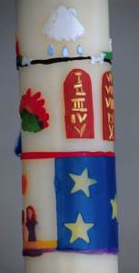 Images on a hand-made Paschal Candle: Creation, Ten Commandments; shell of baptism